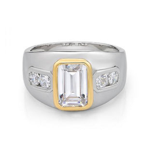 Synergy Wide Bezel Set Emerald Cut Ring in Sterling Silver w/ Yellow Gold