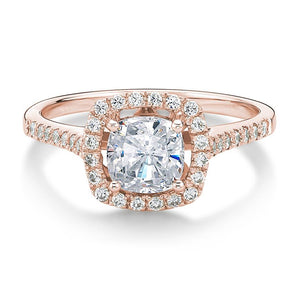 Cushion Cut Halo Engagement Ring in Rose Gold