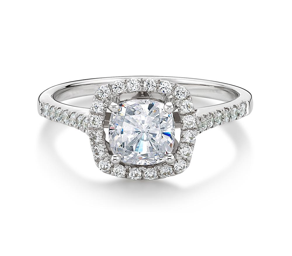Cushion Cut Halo Engagement Ring in White Gold