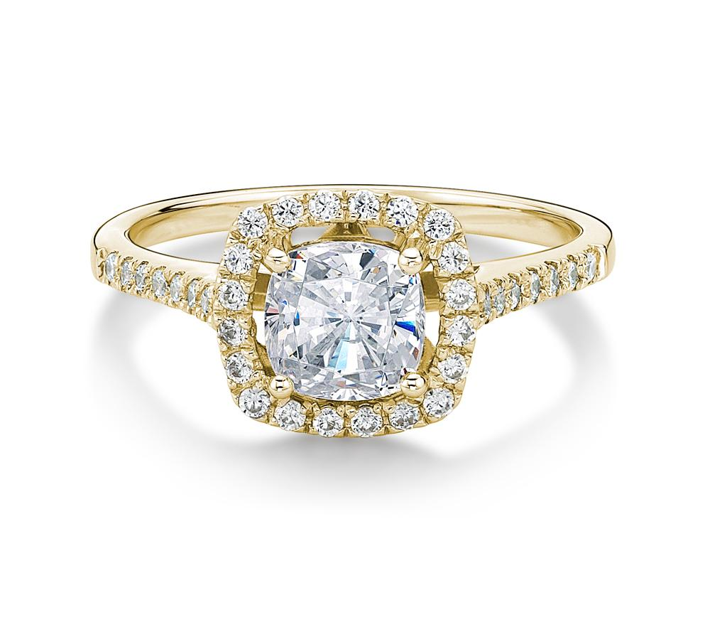 Cushion Cut Halo Engagement Ring In Yellow Gold