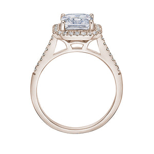 Princess Cut Halo Ring and Band Set in Rose Gold