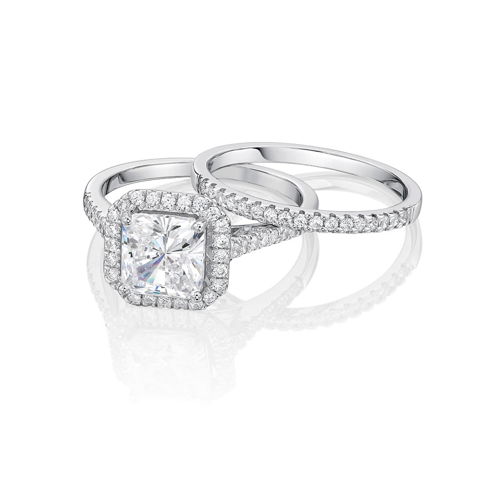 Princess Cut Halo Ring and Band Set in White Gold