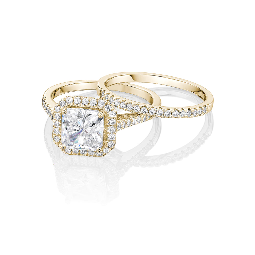 Princess Cut Halo Ring and Band Set in Yellow Gold