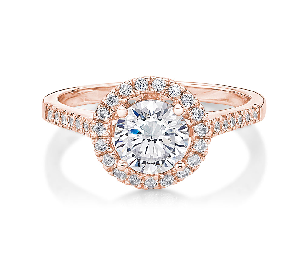 Round Brilliant Cut Halo Ring in Rose Gold