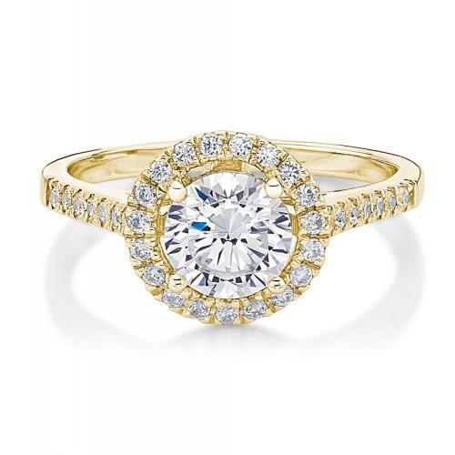 Round Brilliant Cut Halo Ring in Yellow Gold