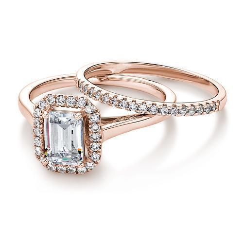 Emerald Cut Halo Ring and Band Set in Rose Gold