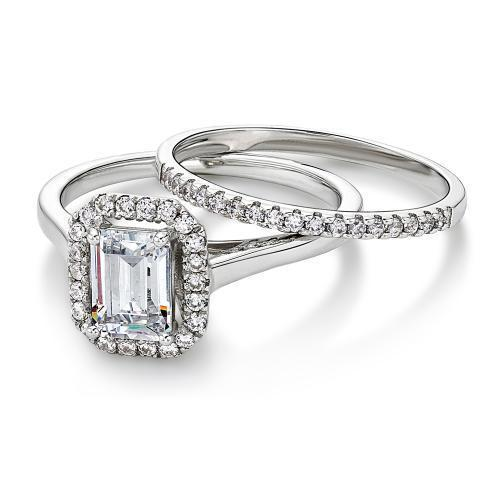 Emerald Cut Halo Ring and Band Set in White Gold