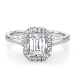 Emerald Cut Halo Plain Band Engagement Ring in White Gold