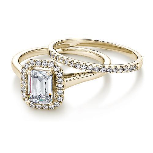 Emerald Cut Halo Ring and Band Set in Yellow Gold