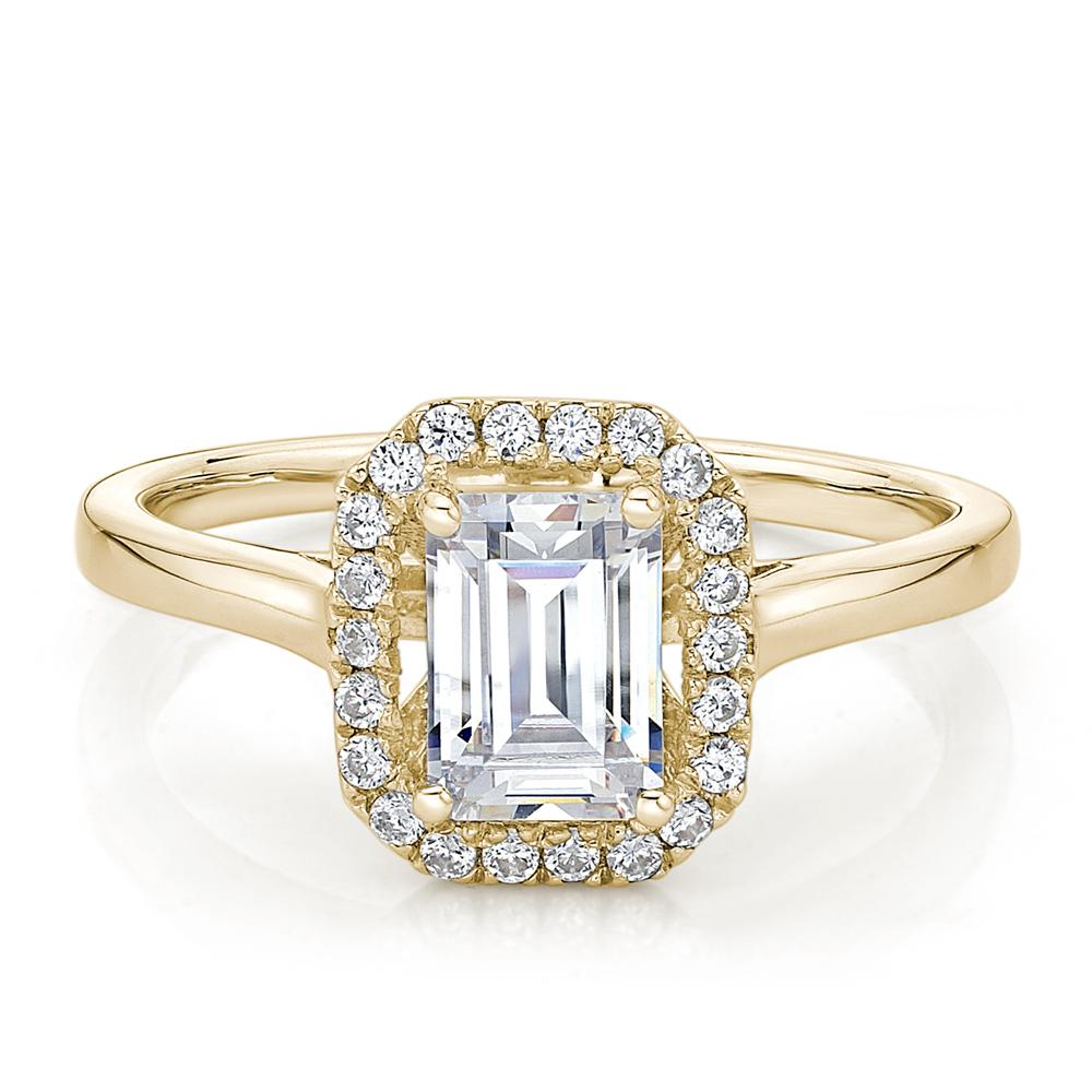 Emerald Cut Halo Plain Band Engagement Ring in Yellow Gold