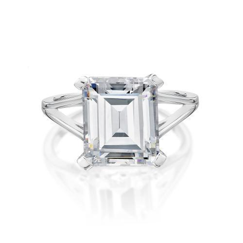 Split Band Emerald Cut Ring in White Gold