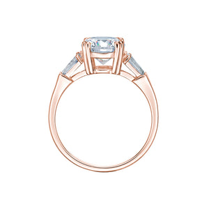 Round and Baguette Cut Dress Ring in Rose Gold