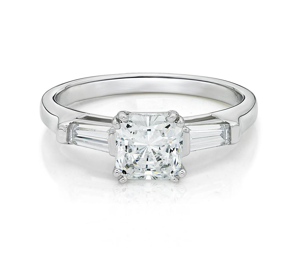 Princess and Baguette Cut Engagement Ring in White Gold