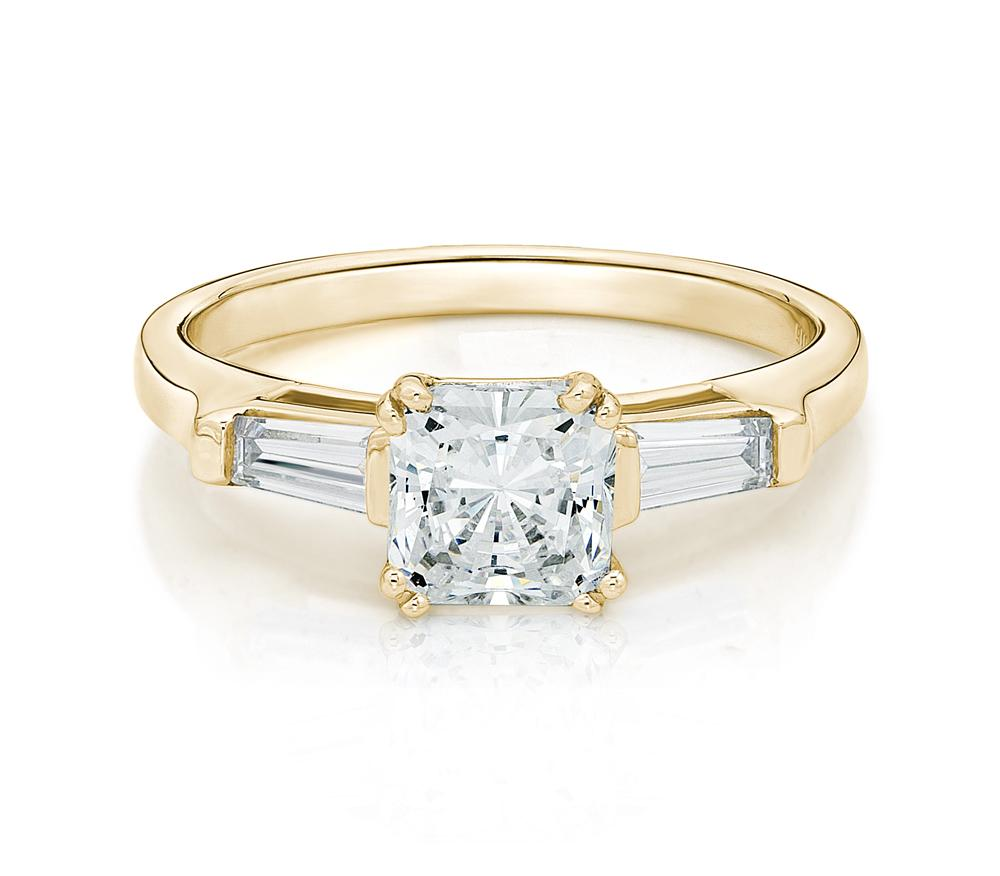 Princess and Baguette Cut Engagement Ring in Yellow Gold