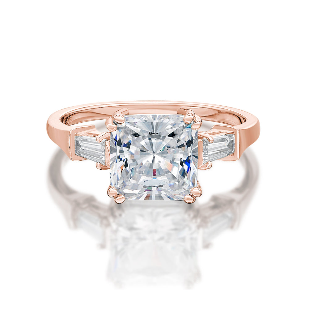 Princess and Baguette Cut Dress Ring in Rose Gold