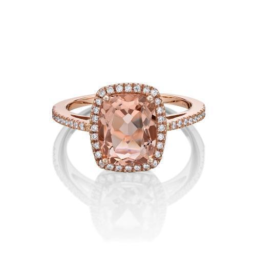 Cushion Radiant Cut Halo Dress Ring - Morganite Colour in Rose Gold