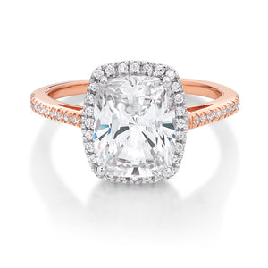Cushion Radiant Cut Halo Dress Ring in Rose Gold w/ White Gold Setting