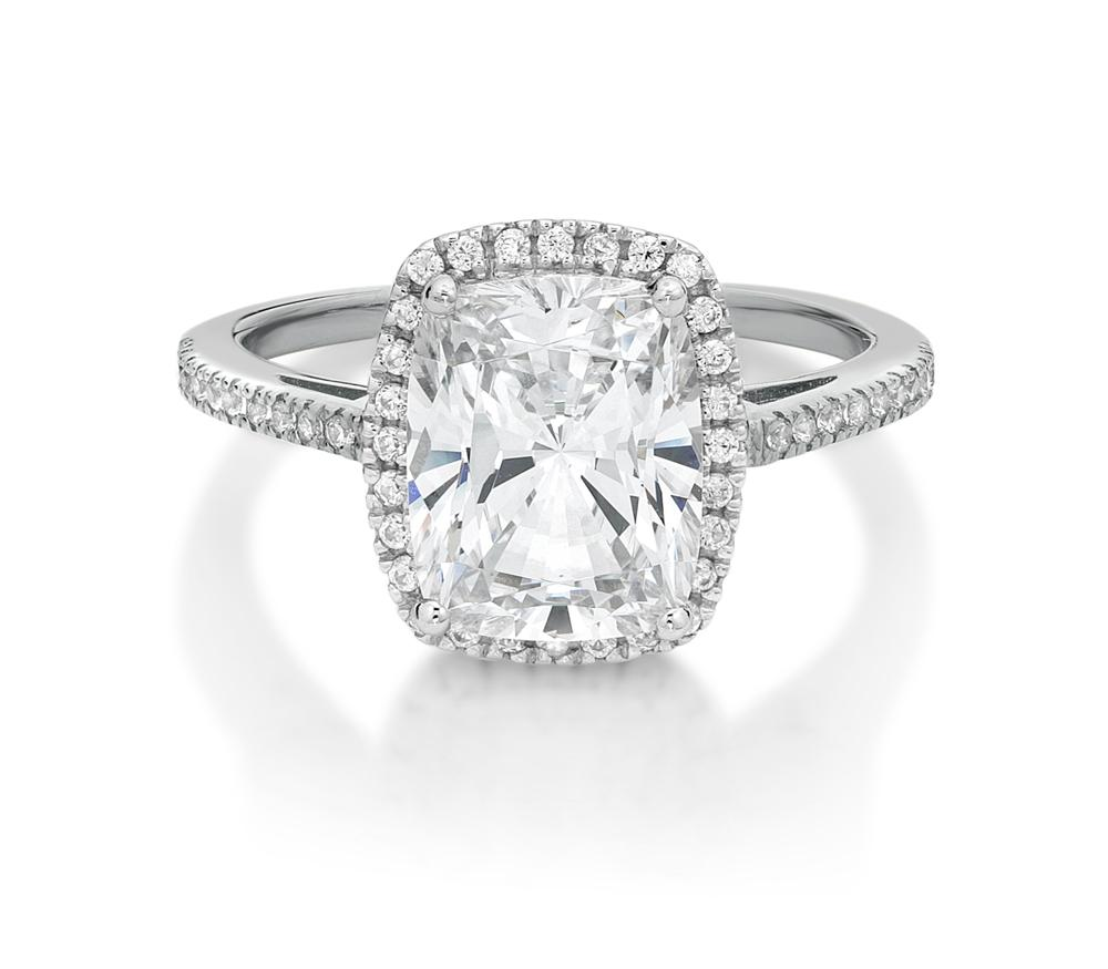 Cushion Radiant Cut Halo Dress Ring in White Gold