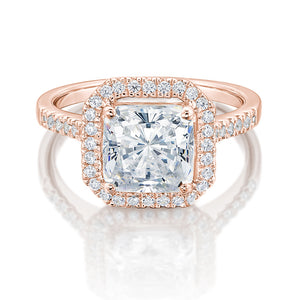 Large Princess Cut Halo Engagement Ring in Rose Gold