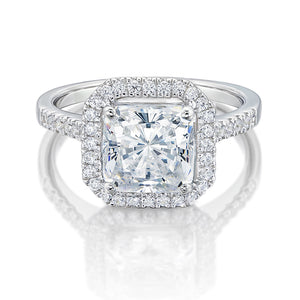 Large Princess Cut Halo Engagement Ring in White Gold