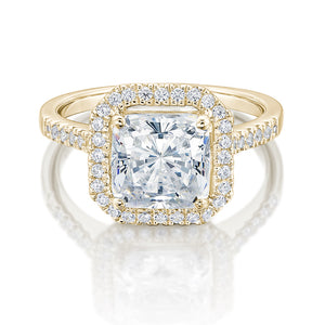 Large Princess Cut Halo Engagement Ring in Yellow Gold