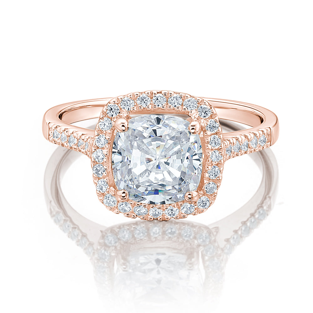 Large Cushion Cut Halo Engagement Ring in Rose Gold