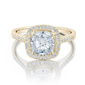 Large Cushion Cut Halo Engagement Ring in Yellow Gold