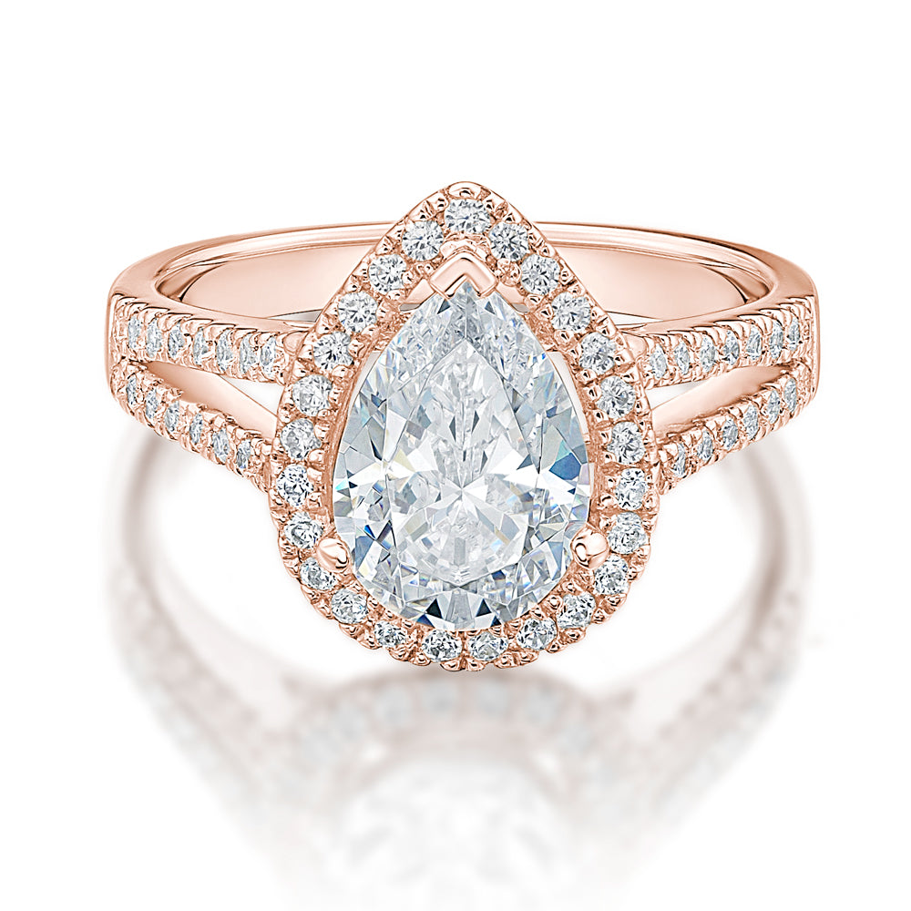 Large Pear Halo Engagement Ring in Rose Gold