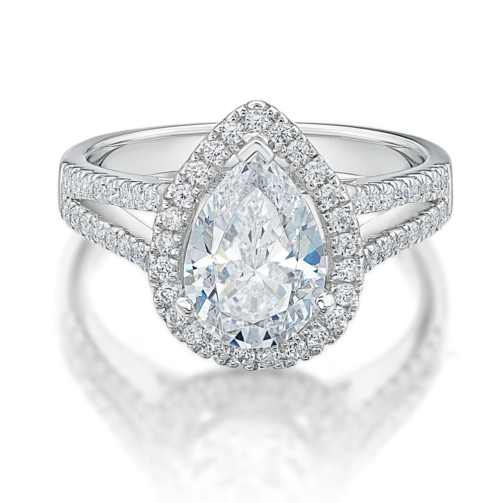 large pear halo engagement ring in white gold. Black Bedroom Furniture Sets. Home Design Ideas