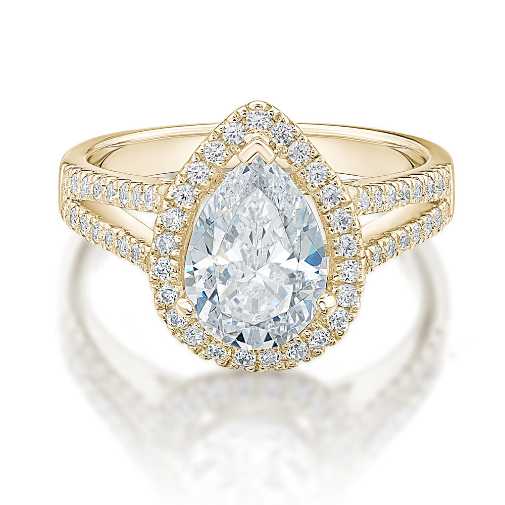 Large Pear Halo Engagement Ring in Yellow Gold
