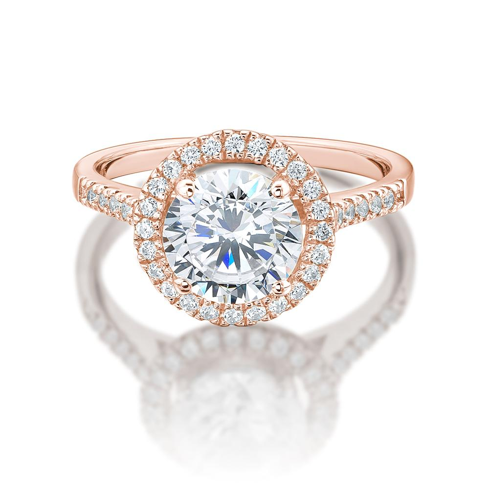 Large Round Brilliant Cut Halo Engagement Ring in Rose Gold