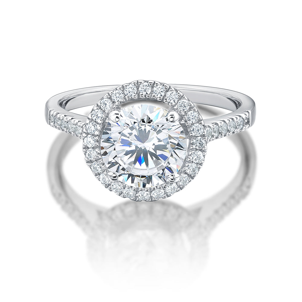 Large Round Brilliant Cut Halo Engagement Ring in White Gold