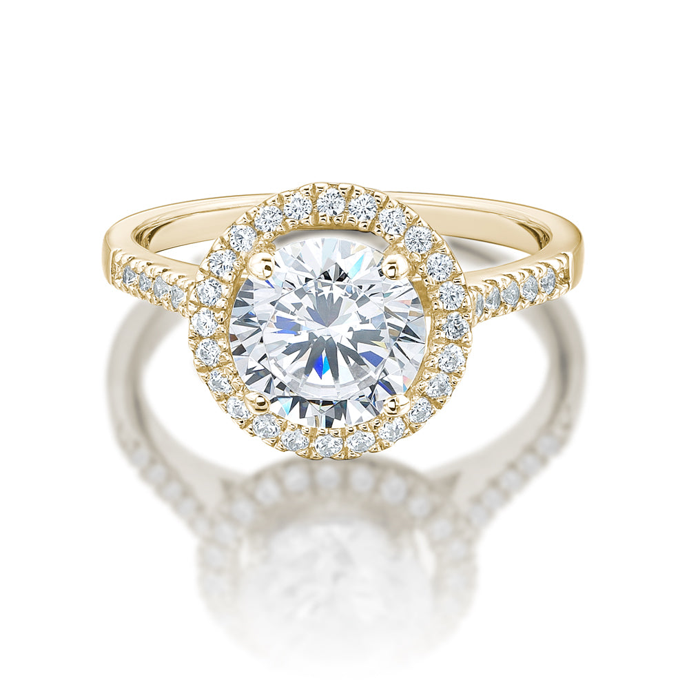 Large Round Brilliant Cut Halo Engagement Ring in Yellow Gold
