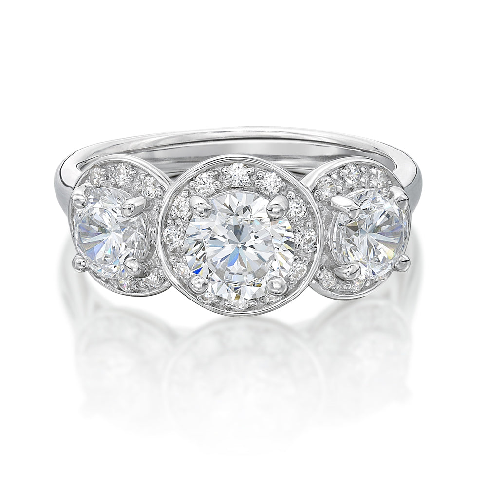 Round Brilliant Cut Halo Three Stone Trilogy Ring in White Gold
