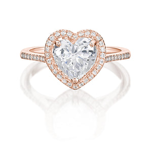 Heart Halo Ring in Rose Gold
