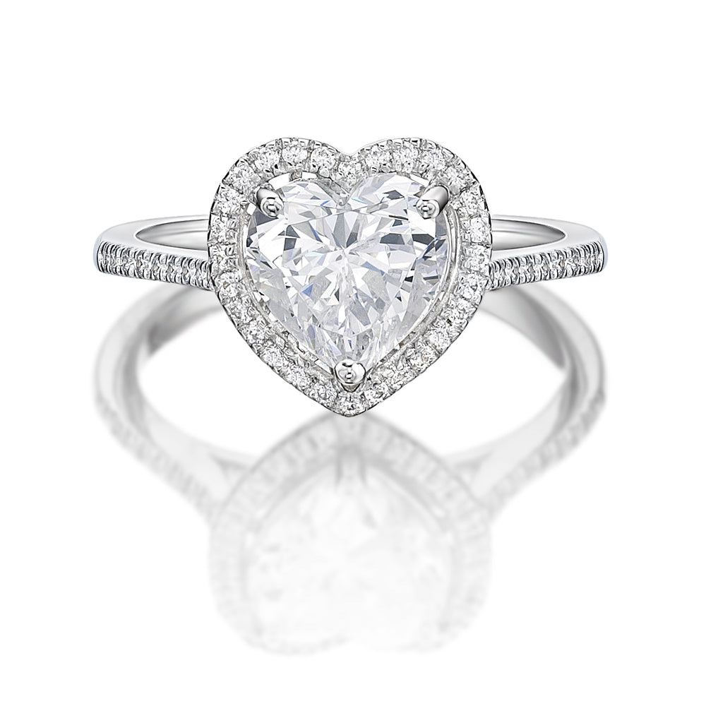 Heart Halo Ring in White Gold