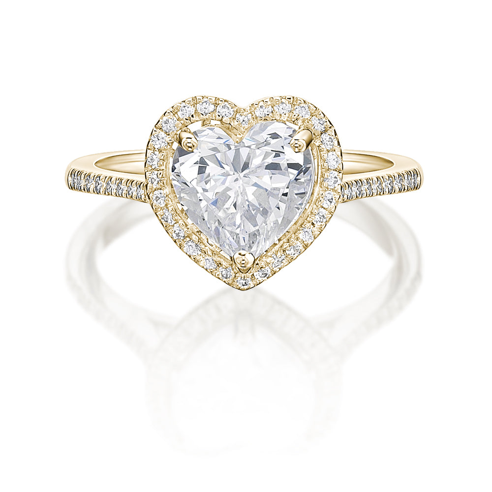 Heart Halo Ring in Yellow Gold