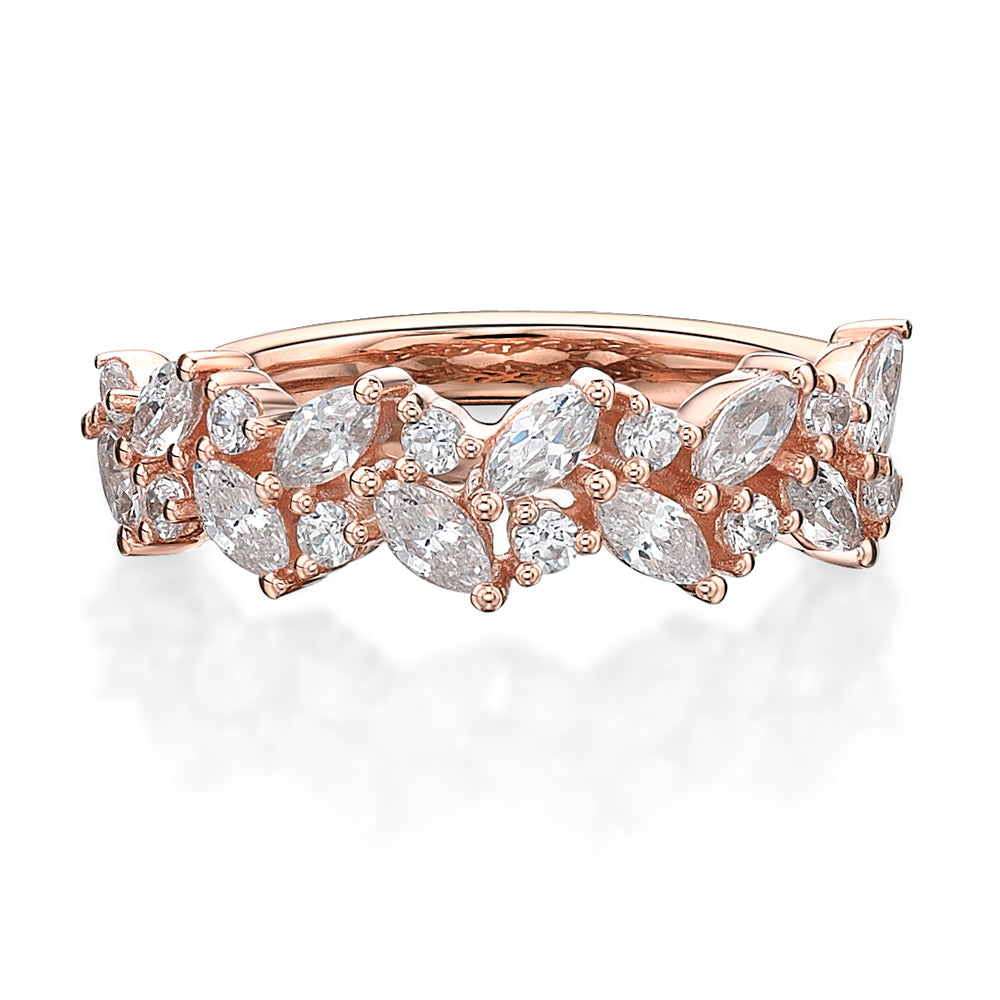 Marquise & Round Brilliant Cut Dress Band in Rose Gold