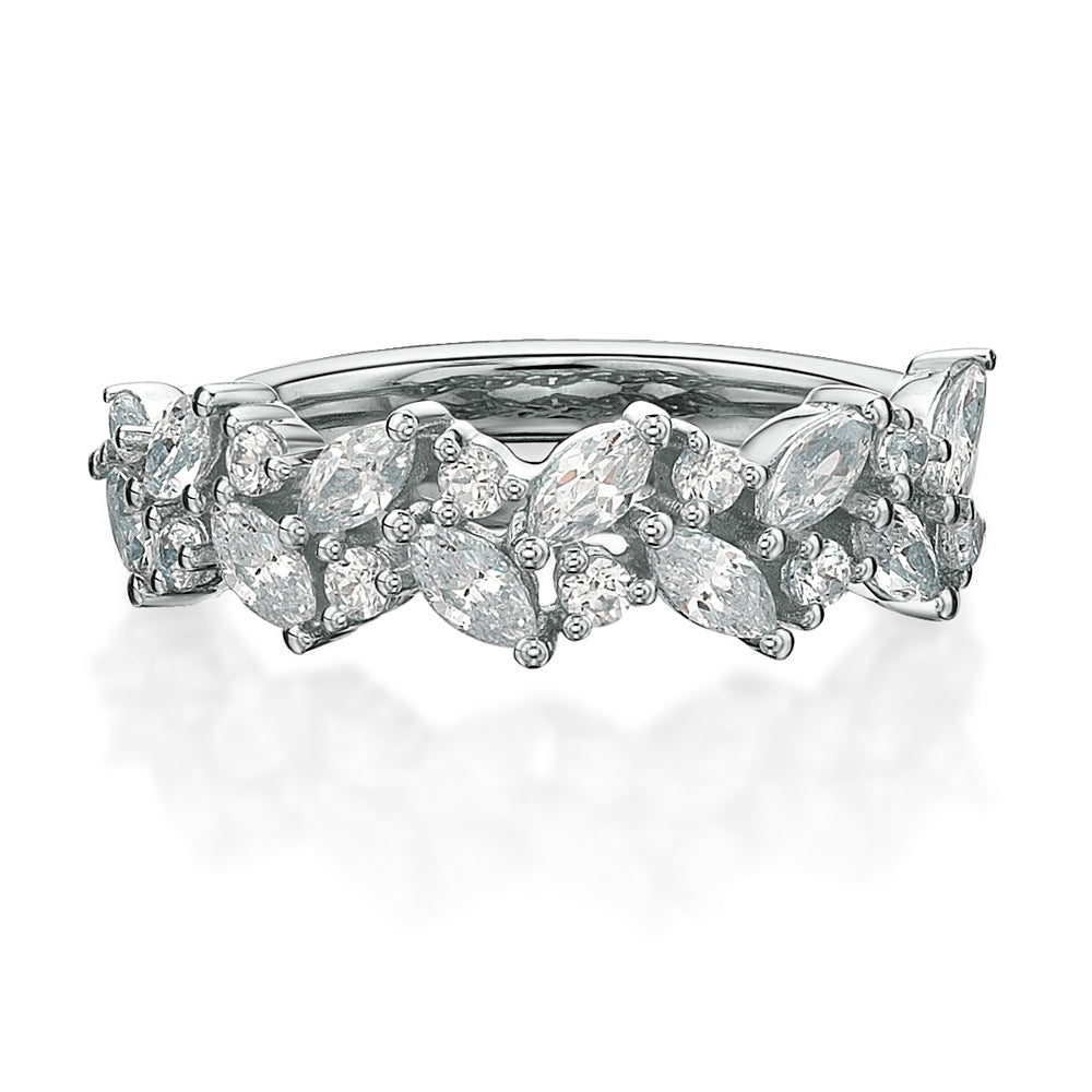 Marquise & Round Brilliant Cut Dress Band in White Gold