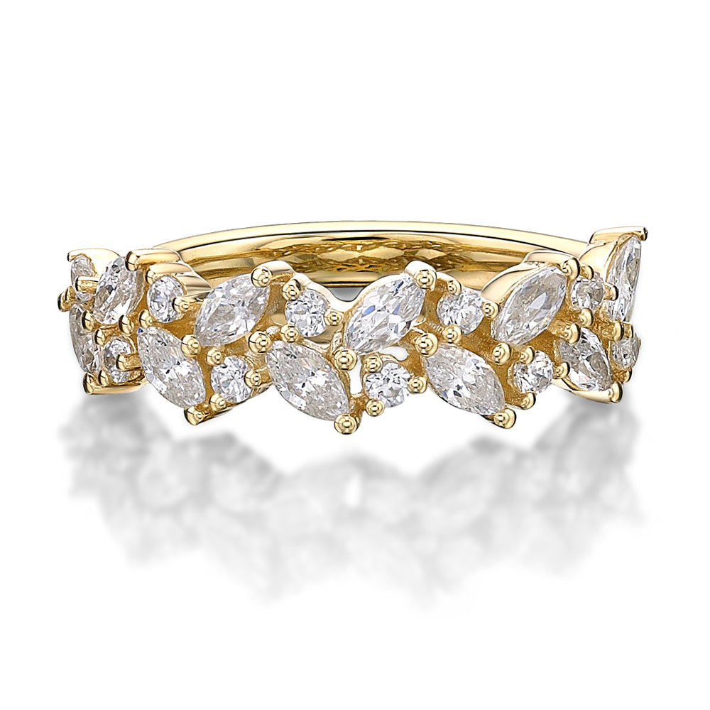 Marquise & Round Brilliant Cut Dress Band in Yellow Gold