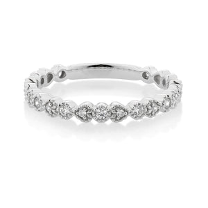 Round and Heart Celebration Band White Gold