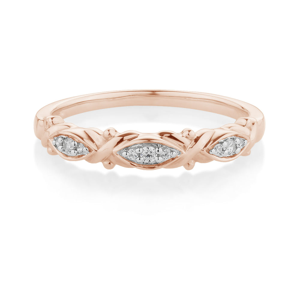 Fancy Round Brilliant Cross and Leaf Celebration Band Rose Gold