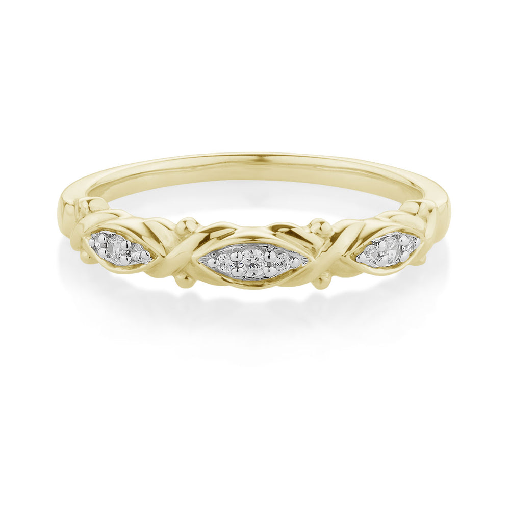 Fancy Round Brilliant Cross and Leaf Celebration Band Yellow Gold