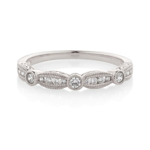 Fancy Round Brilliant Celebration Band White Gold