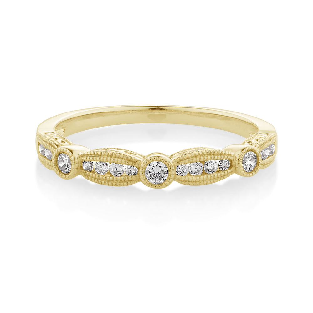 Fancy Round Brilliant Celebration Band Yellow Gold