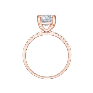 Cushion Cut and Round Brilliant Engagement Ring in Rose Gold