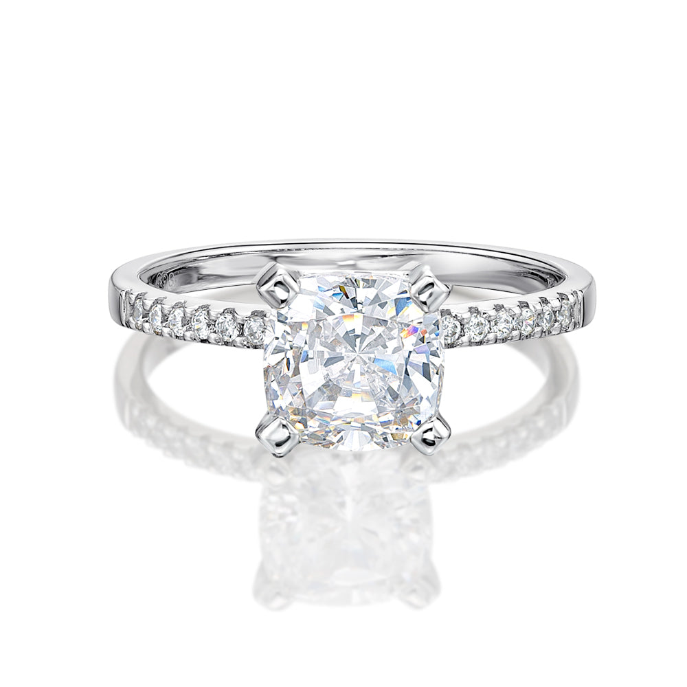 Cushion Cut and Round Brilliant Engagement Ring in White Gold