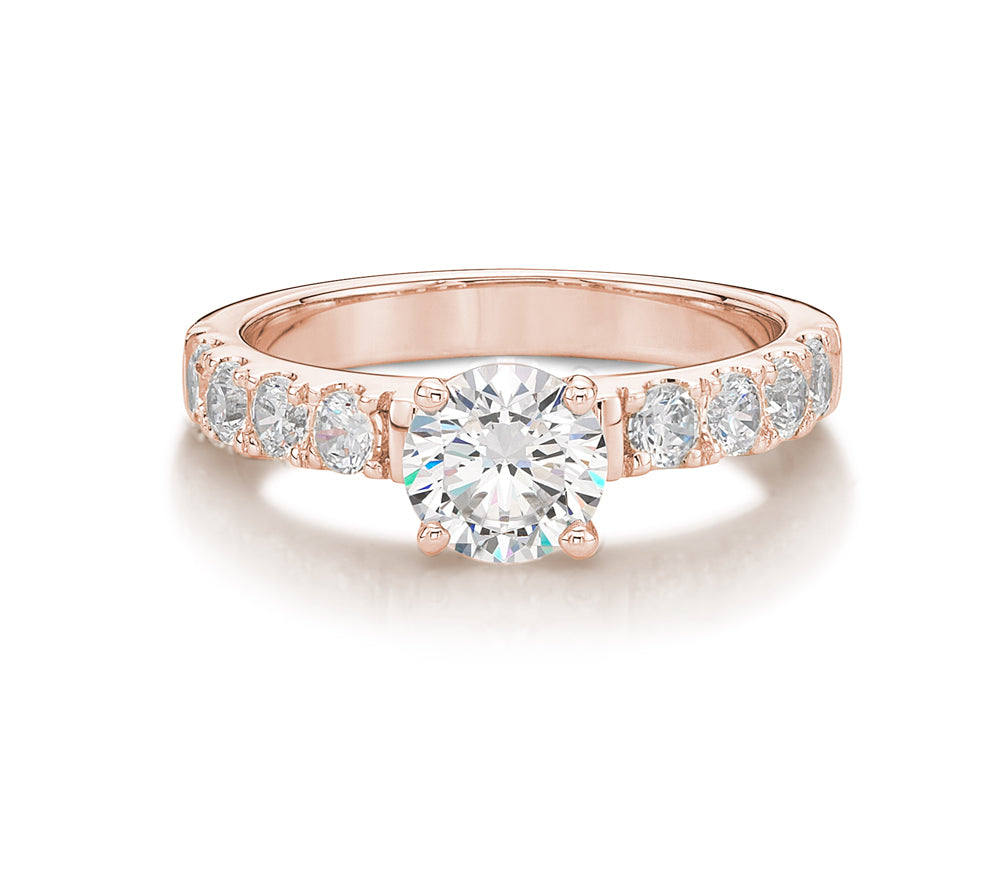 Wide Round Brilliant Cut Engagement Ring in Rose Gold