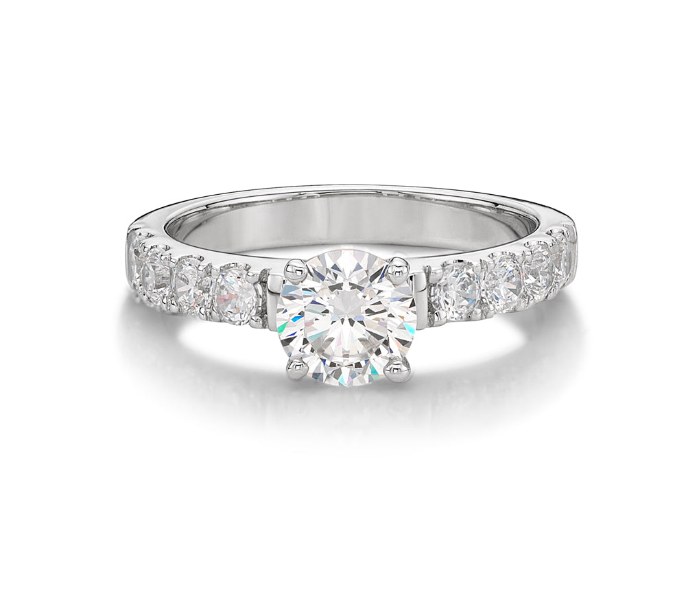 Wide Round Brilliant Cut Engagement Ring in White Gold