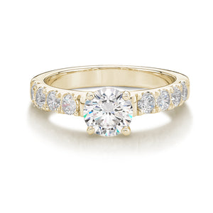 Wide Round Brilliant Cut Engagement Ring in Yellow Gold